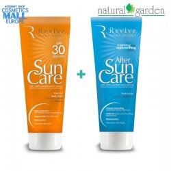 Комплект слънцезащитен лосион SPF30 и лосион след плаж Revive SUN Care   Natural Garden