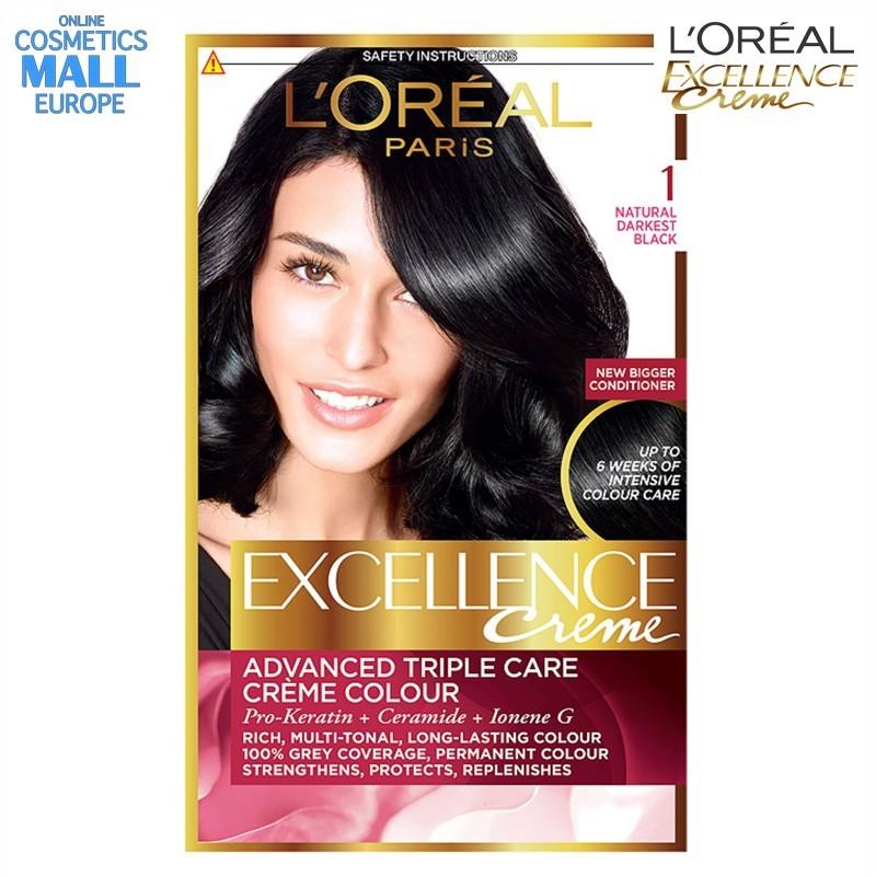 цвят 1 Natural Darkest Black боя за коса L'Oreal Excellence Creme