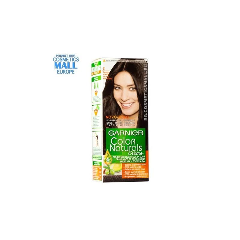 Garnier Color Naturals трайна боя за коса цвят 3.0 Тъмно кестеняв | Garnier Color Naturals