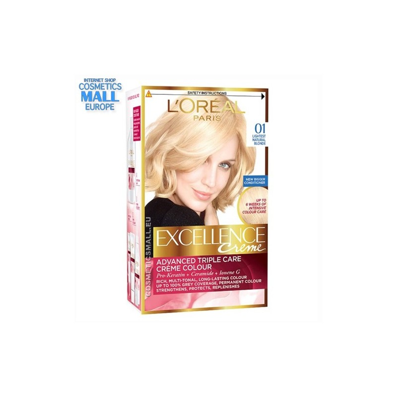 01, Lightest Natural Blonde Permanent hair color L'Oreal Excellence Creme