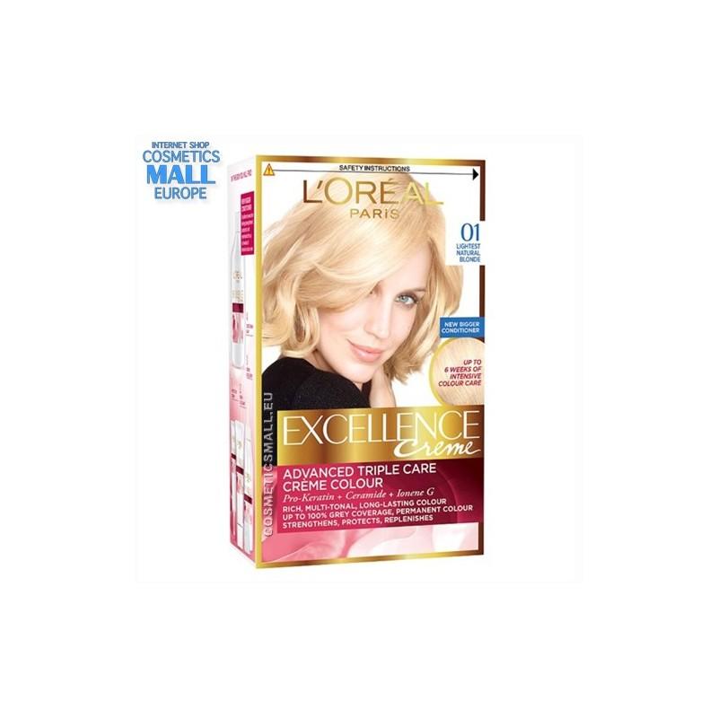 L'Oreal Excellence Creme, цвят 01, Lightest Natural Blonde трайна боя за коса