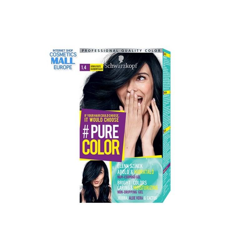 Schwarzkopf Pure Color цвят 1.4 черна боровинка, дълготрайна гел-боя за коса