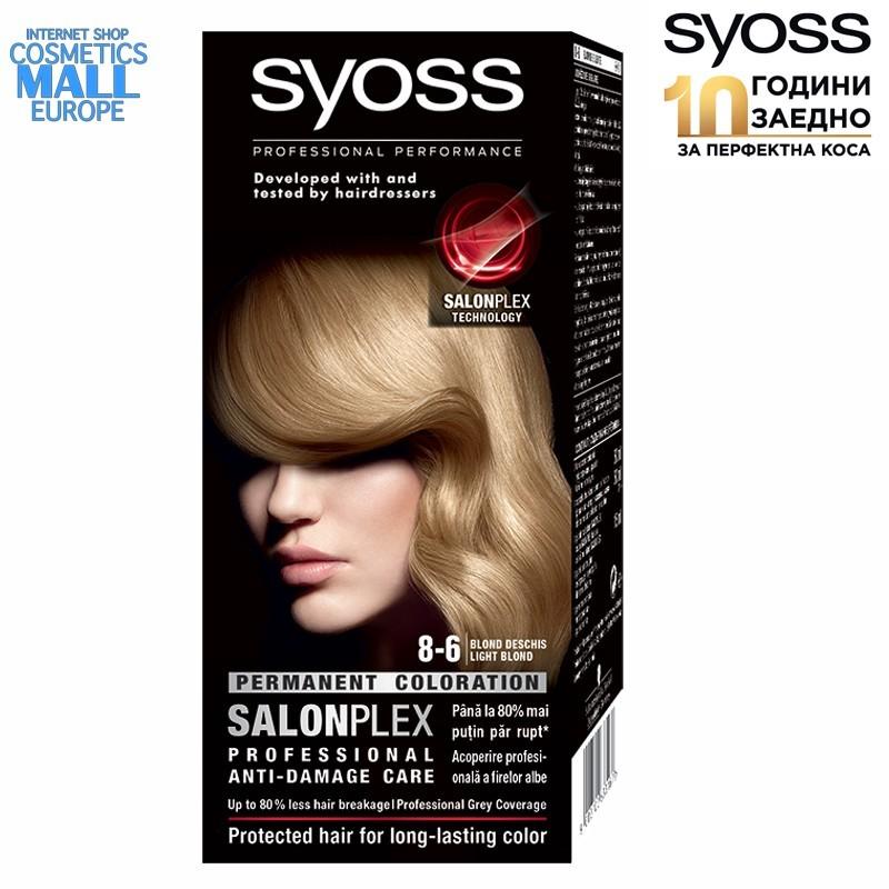 8-6 леко рус цвят, перманентна боя за коса SYOSS Color