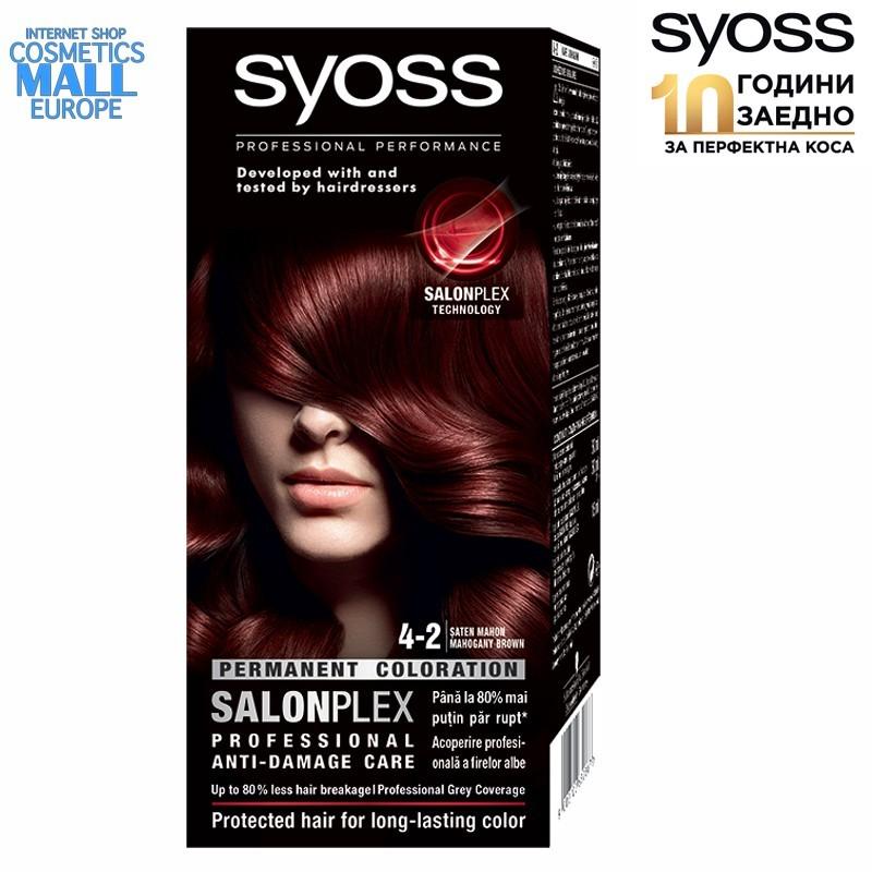 4-2 махагоново кафяв цвят, SYOSS Color перманентна боя за коса