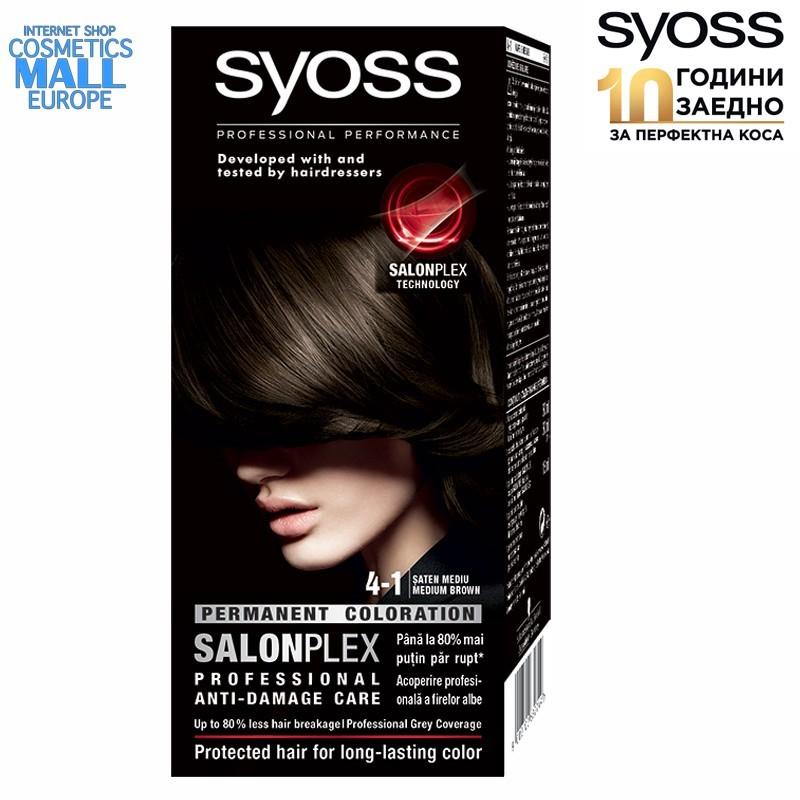 4-1 средно кафяв цвят, SYOSS Color перманентна боя за коса