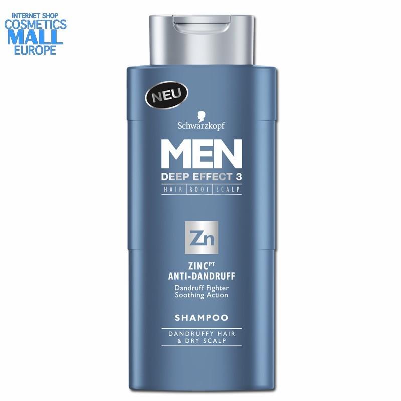 против пърхут, шампоан за мъже с цинк MEN Deep Effect 3 | Schwarzkopf