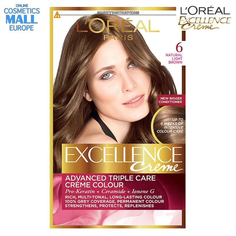 цвят 6 Natural Light Brown боя за коса L'Oreal Excellence Creme