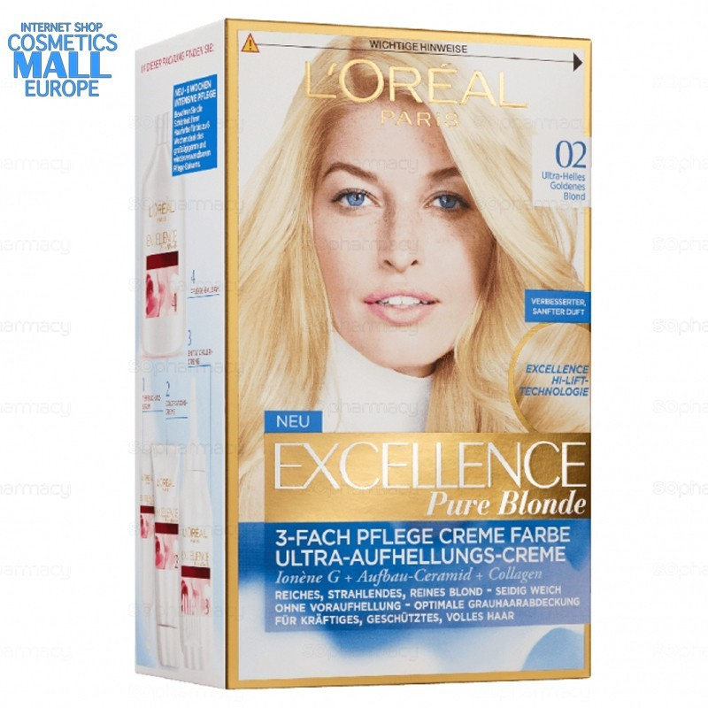 02 Ultra Light Golden Blonde permanent hair color L'Oreal Excellence Creme